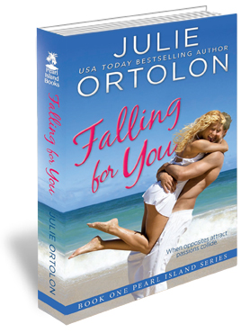 Falling For You Print Cover by Contemporary Romance Author Julie Ortolon